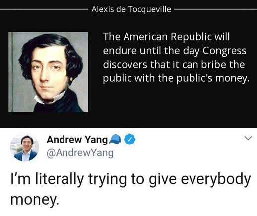 quote american republic fails when congress realizes can bribe andrew yang trying to give you money