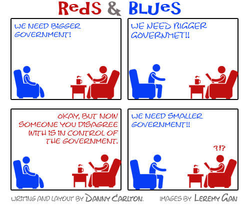 reds and blues we need bigger government someone you disagree with now in charge