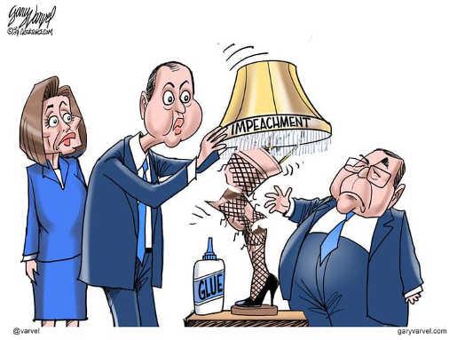 trump schiff pelosi nadler christmas story impeachment lamp