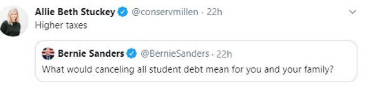 tweet bernie sanders what would cancelling student debt mean for family higher taxes