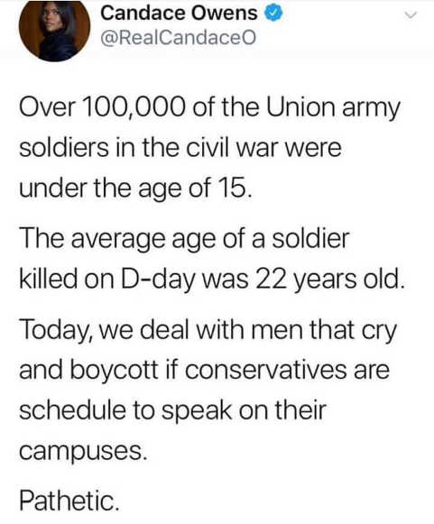 tweet candace owens men of union army dday compared to campus speaker protestors today