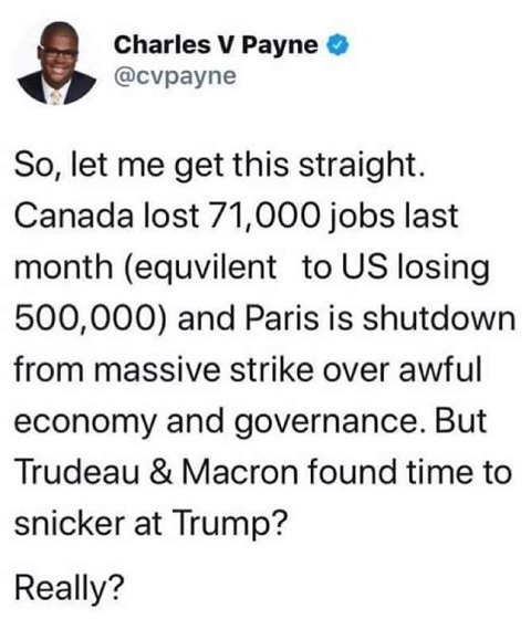 tweet charles payne canada france bad economies but macron trudeau found time to snicker about trump