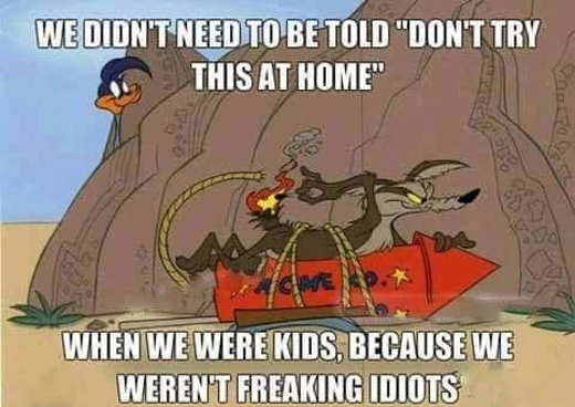 we didnt warning labels as kids we werent idiots wile e coyote