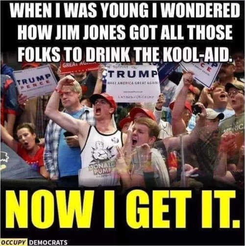 when i was young wondered how jim jones got all those folks to drink kool aid now i get it tds