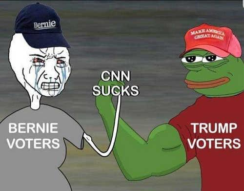 bernie sanders trump voters cnn sucks arms