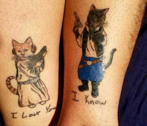 cat tattoos han solo leia i love you i know