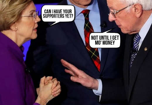 elizabeth warren can i have bernie sanders supports yet not until i get more money