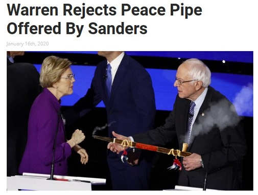 elizabeth warren rejects peace pipe offering from bernie sanders