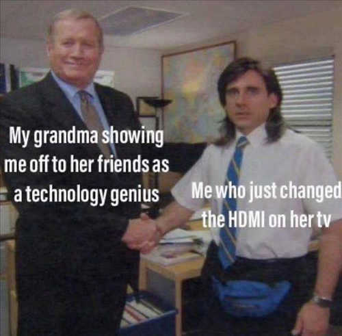 grandmas friends showing tech genius me changing hdmi