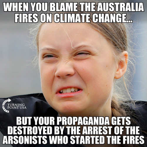 greta thunberg when you blame australian fires on climate change but find out arson