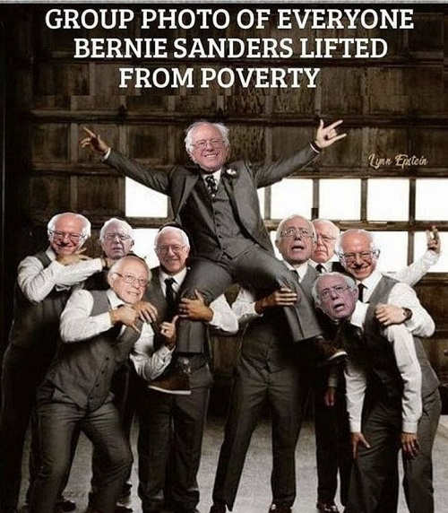 group photo everyone bernie sanders lifted out of poverty himself on shoulders