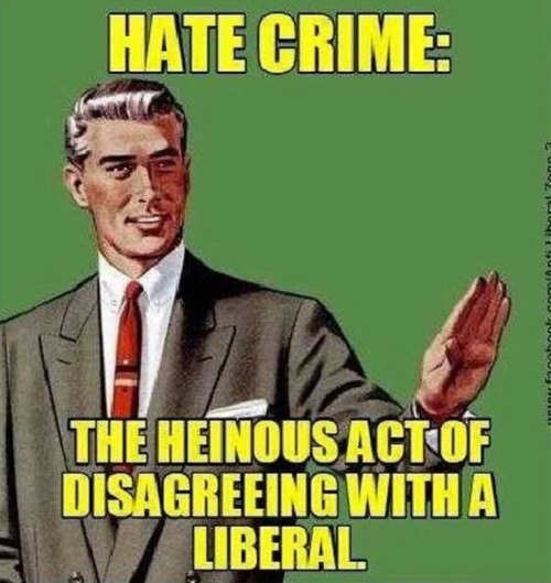hate crime heinous act of disagreeing with a liberal