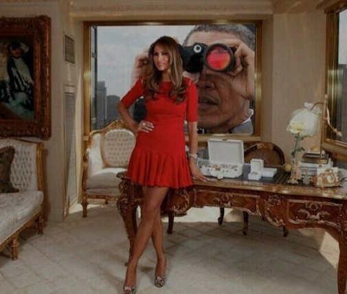 obama binoculars looking at melania trump