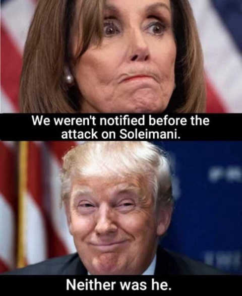 pelosi we werent notified before attack on soleimani trump neither was he