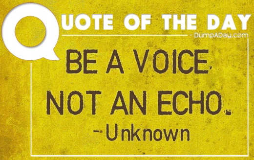 quote of day be a voice not an echo