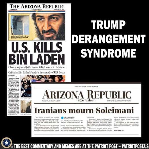 trump derangement syndrome arizona republic osama bin laden vs soleimani headline