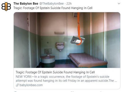 tweet babylon bee tragic footage of epstein suicide