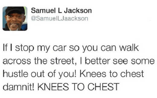 tweet samuel jackson if i stop my car knees to chest