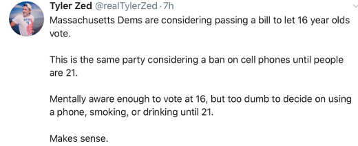 tweet tyler zed voting age 16 but not smart enough to smoke drink cell
