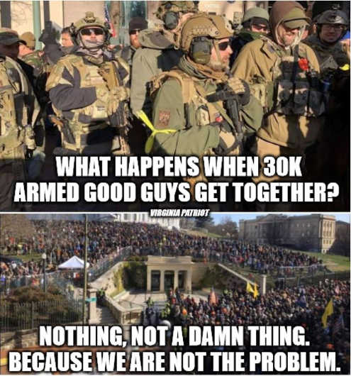 virginia what happens when 30000 armed good guys get together nother we are not the problem