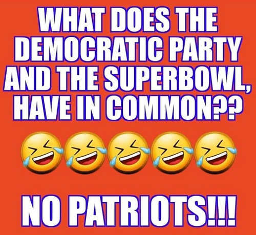 what does democratic party and superbowl have in common no patriots