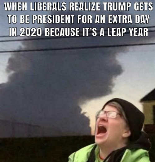 when liberal realizes 2020 leap year extra day president trump