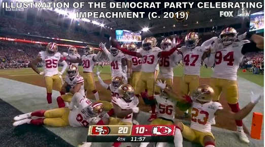 49ers illustration of democrats celebrating impeachment 2019 losers