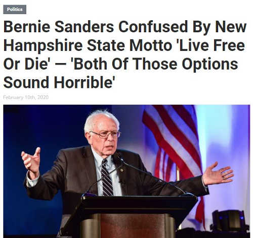 babylon bee bernie sanders confused by live free or die new hampshire