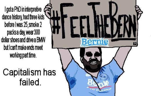 bernie sanders bro capitalism has failed cant support lifestyle debt with part time job