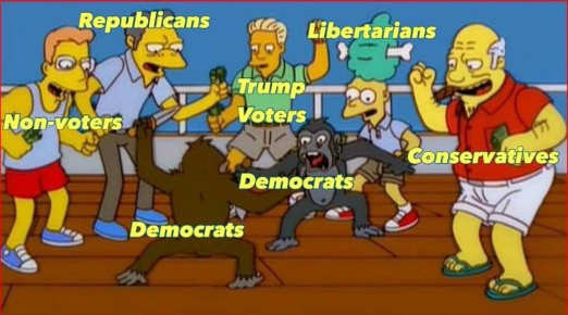 democrat monkey fight cheered by libertarians republicans trump voters