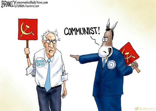 democrats calling bernie sanders communist holding sign behind back