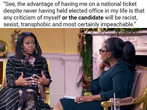michelle obama having me on ticket no criticim or sexist racist transphobic