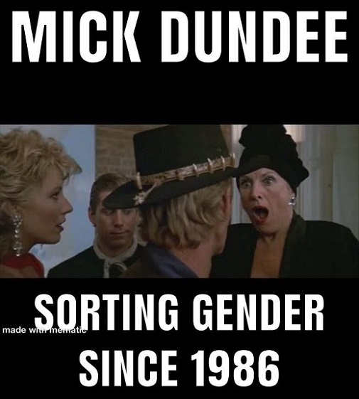 mick crocodile dundee sorting gender since 1986