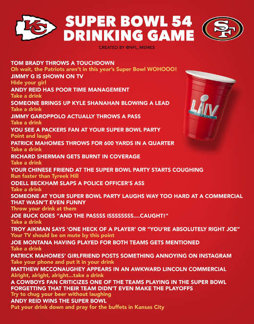 superbowl 54 drinking game chiefs 49ers buck aikman