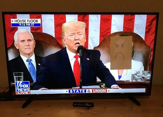 trump sotu speech nancy pelosi cardboard frown