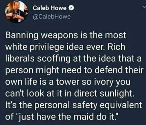 tweet caleb howe banning weapons ultimate white privilege idea ivory tower
