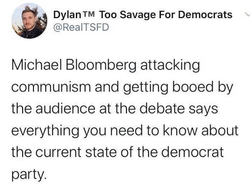 tweet dylan bloomberg attacking communism getting booed tells you everything about state of democratic party