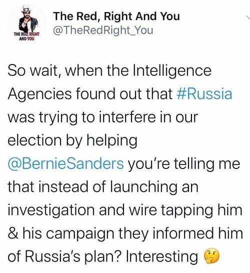 tweet intelligence agencies found russia trying to elect bernie just informed him not wire tap