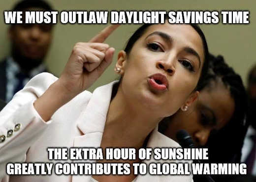 aoc we must outlaw daylight savings time extra hour sunshine contributes to global warming