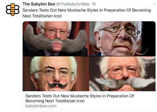 babylon bee bernie sanders trying out totalitarian mustaches