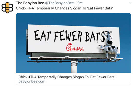 babylon bee chickfila changes sign to eat fewer bats