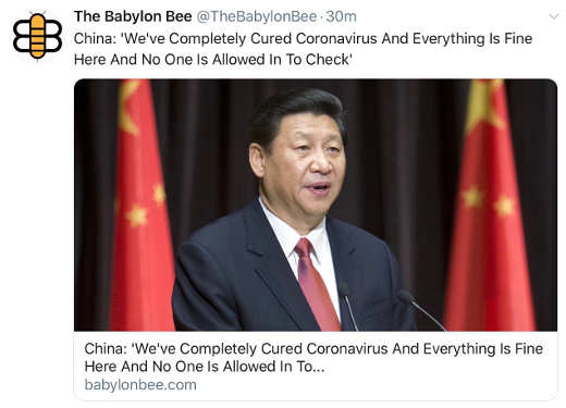 babylon bee china weve completely cured coronavirus no one allowed to check