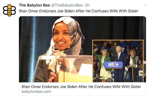 babylon bee omar supports biden since he mixed up sister and wife