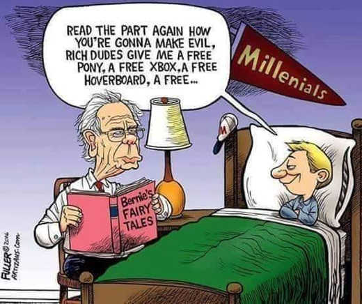 bernie sanders fairy tale millenials read part about free pony xbox hoverboard from rich dudes