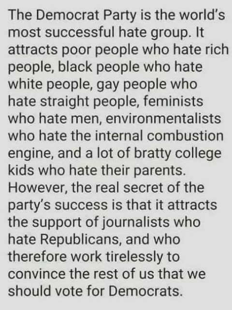 democrat party worlds most successful hate group attracts poor people who hate rich blacks who hate whites