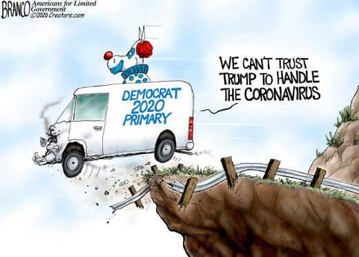 democrats we cant trust trump to handle coronavirus democrat 2020 primary clown off cliff