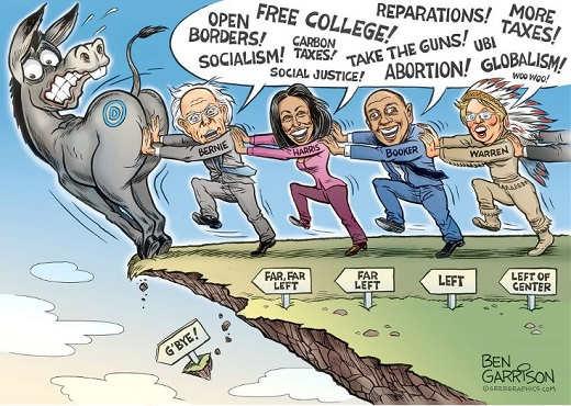 far left bernie sanders cory booker kamala harris elizabeth warren pushing democrats off cliff