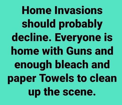 home invasions should decline guns enough bleach paper towls to clean up scene