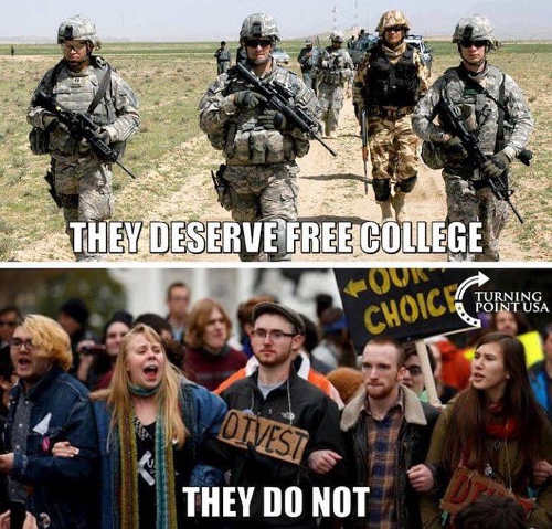 military deserve free college millenial protestors do not