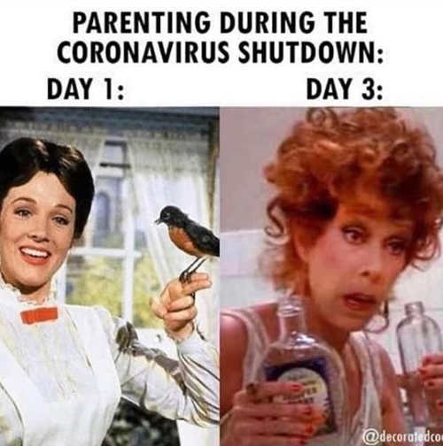 parenting during coronavirus shutdown day 1 mary poppins day 3 miss hannigan